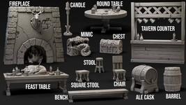 Bundle - Set - Tavern - Objects - Ancient - 3D - Printed HQ - Resin Miniature -  - $49.00