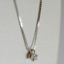 18K WHITE GOLD MINI NECKLACE WITH DIAMOND 0.01 CT, VENETIAN CHAIN MADE IN ITALY  image 2