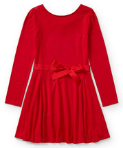 POLO RALPH LAUREN NEW TODDLER GIRLS RED STRETCH LONG SLEEVE BELTED DRESS... - $29.69