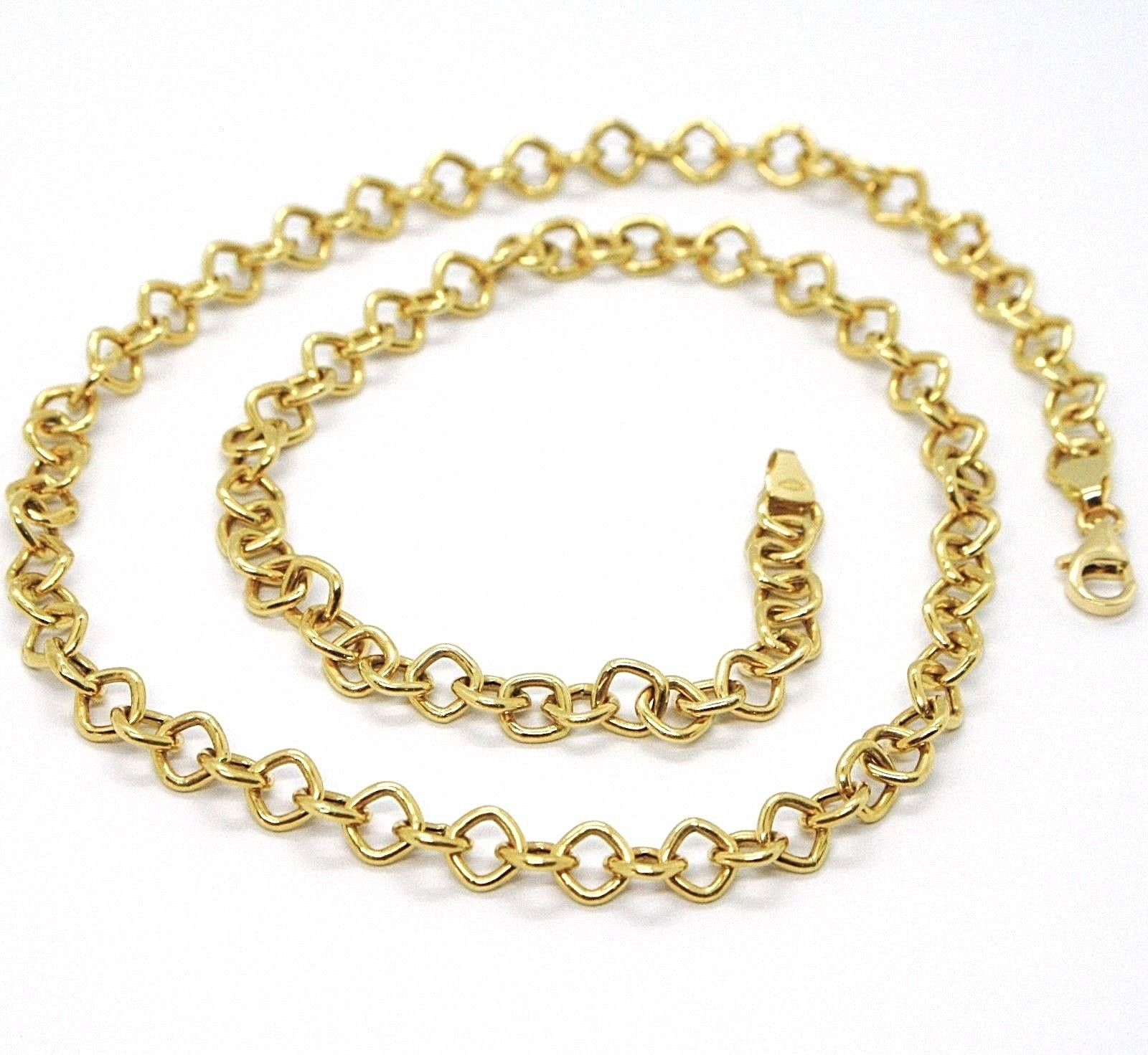 18K YELLOW GOLD CHAIN SQUARE LINK 5 MM, 16.5 INCHES, MADE IN ITALY