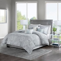 Luxury 7pc Soft Grey Marble Print Duvet Cover Set AND Decorative Pillows - $132.99+