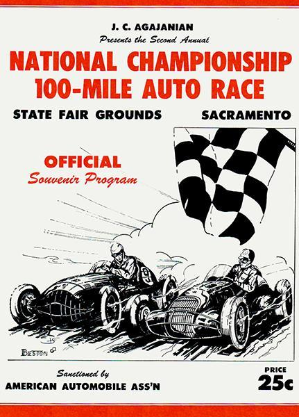 Primary image for 1950 National Championship 100 Mile Auto Race - Sacramento CA - Program Poster