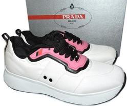 Prada Linea Rossa Runner Black & White Pink Sneakers 39 Flat Shoes - $273.00