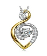 Necklace for Women S925 Sterling Silver Gold Plated 5A CZ Dancing Stone ... - $102.46