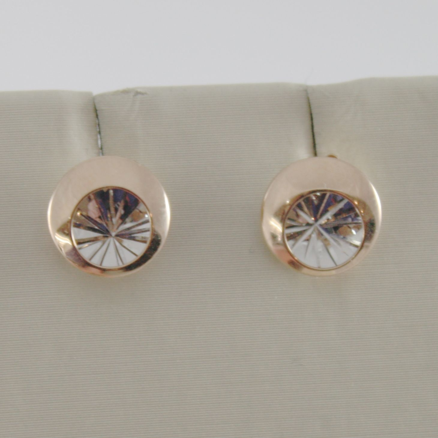 18K WHITE PINK GOLD ROUND EARRINGS FINELY WORKED, DOUBLE RAYS STAR MADE IN ITALY