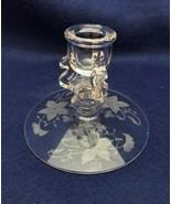 Tiffin Glass single candle holder Oneida etch, elegant glass, nice - $8.90