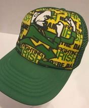 Vtg Notre Dame Fighting Irish Green Snapback Trucker Mesh Hat Cap Spell Out - $27.10