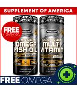 "Muscletech Platinum Multivitamin + FREE Platinum Omega Fish Oil  ""FREE S... - $14.83"