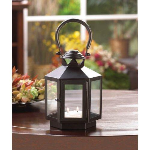 Black Hexagonal Candle Lantern
