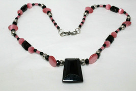 GORGEOUS Handmade Sterling Silver Black Glass & Pink Cats Eye Beaded Necklace K4 - $19.99