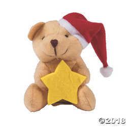 Mini Plush Christmas Bears with Star