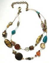Chicos Multi Strand Necklace Colorful Boho Beaded Wire Gold Tone Glass M... - $14.79