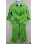 Koret 2 Pc Green Dotted Pull On Capris & Button Jacket Top Sz L EUC 0736 - $20.20