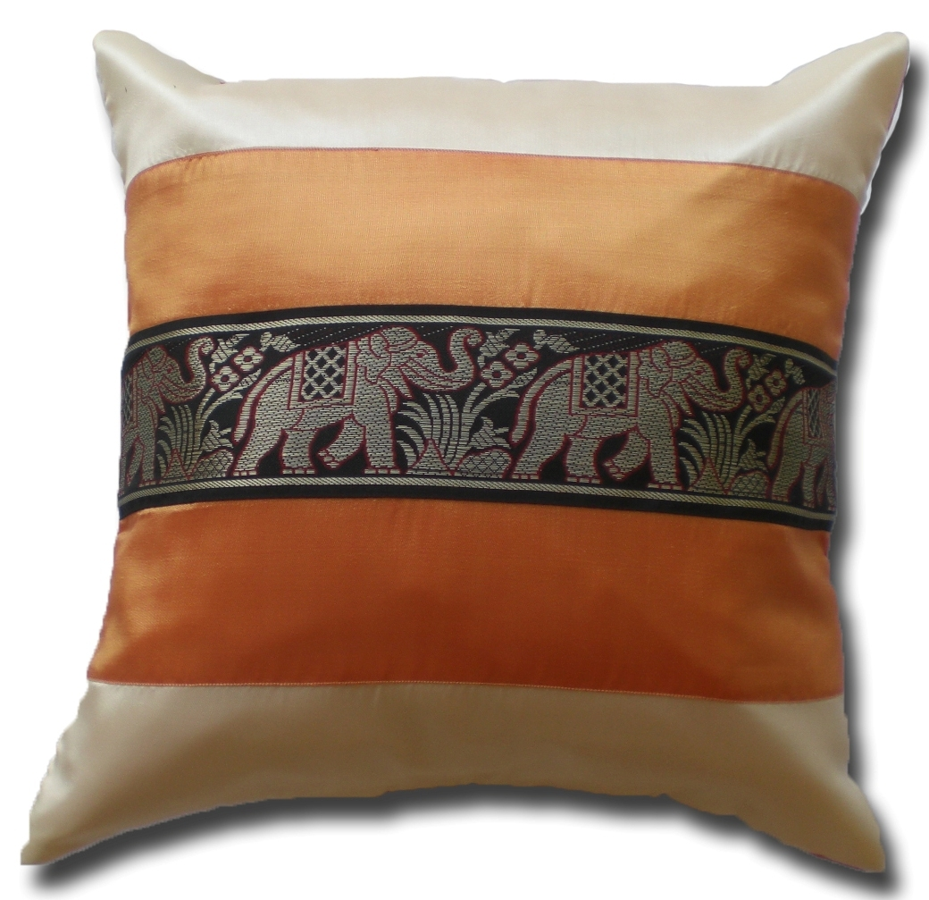 Primary image for KN034 orange - creme Cushion cover Elephant Animal Throw Pillow Decoration Case