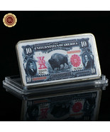 WR 1901 $10 Bison Note Colored Silver Foil Art Bar Metal Bullion Gifts f... - $3.49
