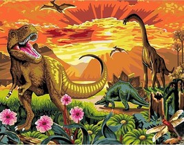"""Dinosaurs 16X20"""" Paint By Number Kit DIY Acrylic Painting on Canvas Fram... - $8.31"""