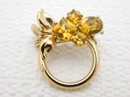 VTG 1950s Gold Tone PEGASUS CORO Topaz Rhinestone Flower Pin Brooch - $39.60