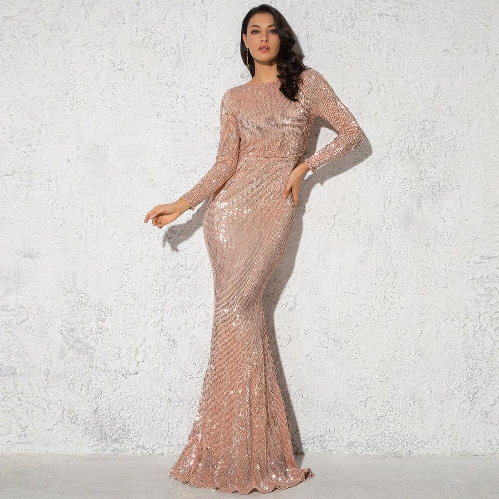 9 elegant o neck long sleeve sparkle sequin maxi dress floor length stretchy bodycon party dress