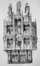 FRANCE Altarpiece at Cathedral of Brou - SUPERB 1843 Antique Print - $22.46