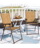 Folding Slingback Chairs UV Resistant Lightweight Portable Seating Yard ... - $98.49