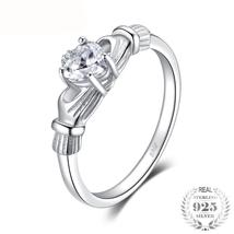 April Birthstone Irish Claddagh Ring  Silver - $9.10