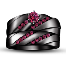 925 Sterling Silver Black Gold Finish Round Cut Pink Sapphire Wedding Ring Set - $82.55