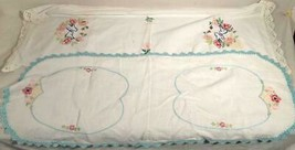 """2 VINTAGE HANDMADE HAND EMBROIDERED TABLE RUNNERS 32""""X 12"""" & 36""""X 12"""" - $25.73"""