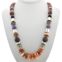 "Navajo Rose & Tommy Singer Orange Spiny Shell Multi-Gems 21"" Treasure Ne... - $359.00"
