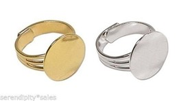 72 Adjustable RING BLANKS 16mm pad ~ 36 SILVER Plated + 36 GOLD Plated NICE - $54.24
