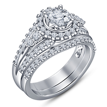 Pure 925 Silver 14k White Gold Plated Round Cut Diamond Women's Bridal Ring Set - $104.98