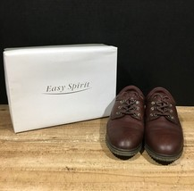 Easy Spirit TAYLOR Women's 10B Brown Leather Round Toe Casual Lace Up Shoes - $44.55