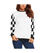 White with Black and White Checker Sleeves Women's Long Sleeve Sweatshirt - $51.99