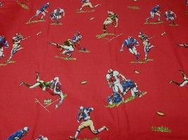 Pottery Barn Kids Football Twin Flat Sheet VTG Touchdown Tackle Red - $14.84