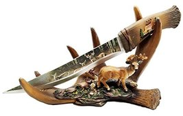Rustic Six Point Buck Antler Display With Blunt Dagger Letter Opener Scu... - $25.99