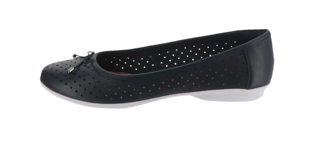 Clarks Perforated Leather Ballet Flats Gracelin Lea Navy 10M NEW A306040