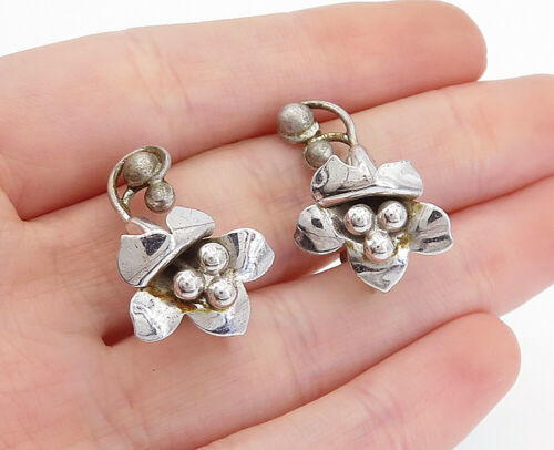 Primary image for 925 Sterling Silver - Vintage Shiny Sculpted Flower Non Pierce Earrings - E9956