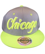 City Hunter Chicago Men's Adjustable Snapback Baseball Cap Gray/Neon Green - $9.95