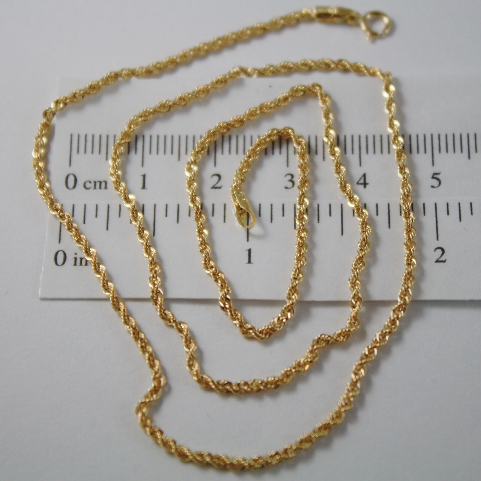 18K YELLOW GOLD CHAIN NECKLACE, BRAID ROPE LINK 17.71 INCHES MADE IN ITALY
