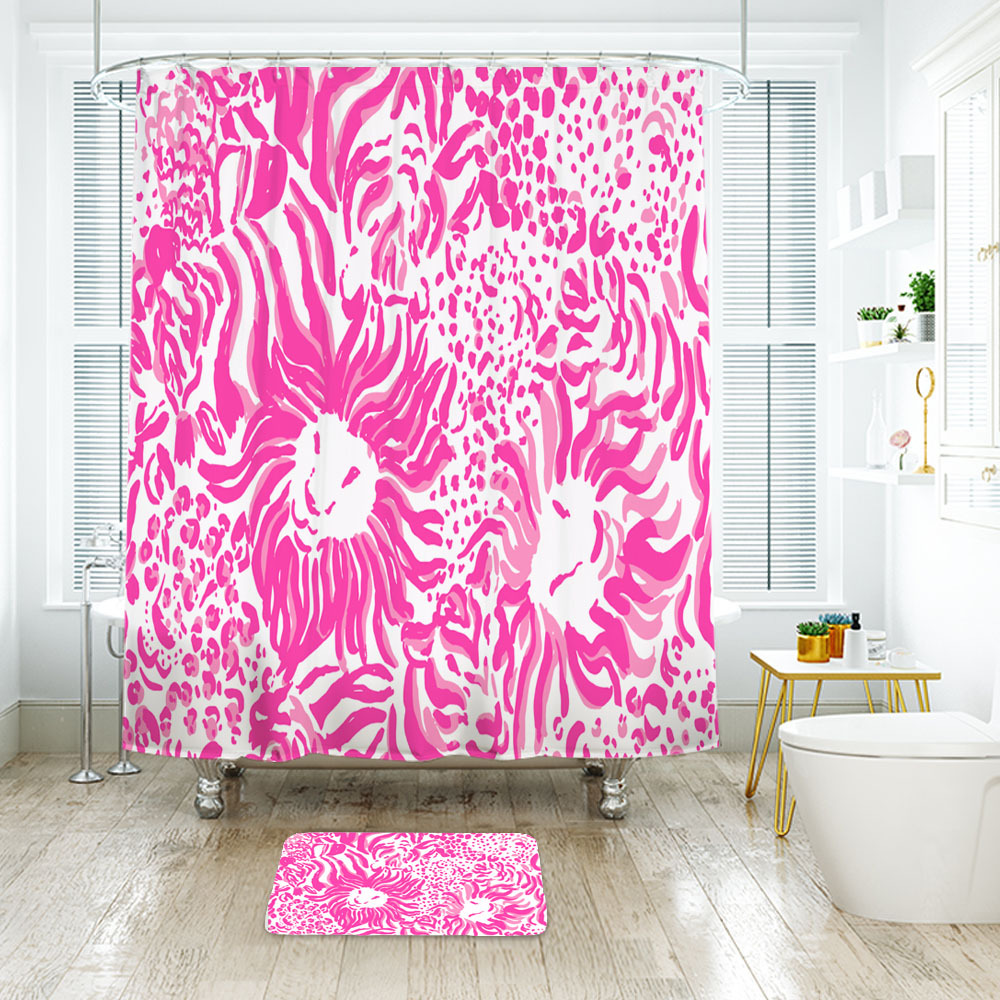 Flower Lilly Get Spotted Shower Curtain Waterproof & Bath Mat For Bathroom