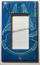 Star Wars Millennium Falcon Blueprint Switch Outlet wall Cover Plate Home Decor image 2