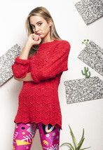 Lace knit jumper - 90s vintage red sweater - $39.91