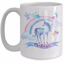 Unicorn Rainbow Gift - Believe - Daughter Girlfriend Mom Motivational Coffee Mug - $18.57+