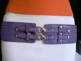 Neu Damen Elastischer Hüfte Taille Hell Violett Farbe West Gürtel Doppel - $23.50