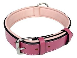 Soft Touch Collars Raspberry Pink Leather Padded Dog Collar Large Female... - $38.53