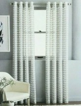 (1) JCPenney Home Rockford Sheer Grommet-Top Curtain Panels Vintage Nick... - $24.30