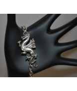 """Steel Dragon Charm Bracelet with 3/8"""" Width Chain & Faceted Red Crystalc... - $14.99"""