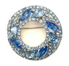 Vintage Signed Mid Century Weiss Blue Rhinestone Crystal Round Wreath Br... - $57.42