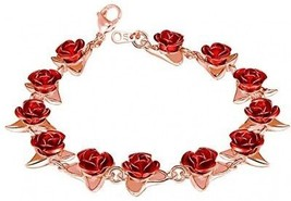 U7 Women Girls Cute Rose Gold Plated Link Red Rose Flower Charm Bracelets - $29.15
