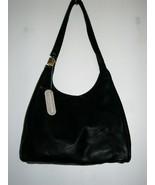 JONES NEW YORK Black Full Grain Smooth Leather Slouch Hobo Bag - $74.24