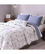 Blue and White Leaves Embroidered and Reversible Comforter Queen Size So... - $200.77